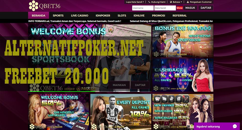 QBet36 Freebet Gratis Rp 20.000 Tanpa Deposit