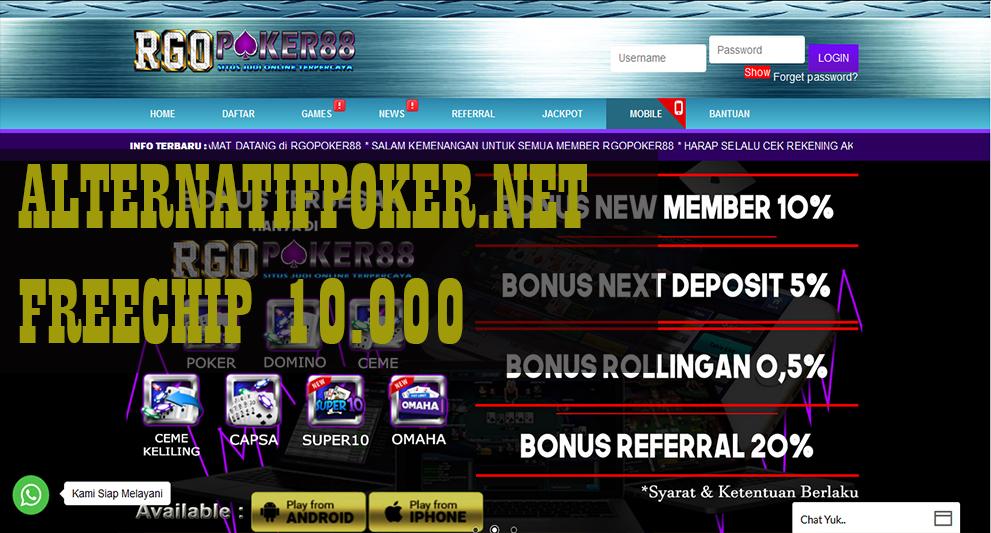 RGOPoker88 Freechips Gratis Rp 10.000 Tanpa Deposit