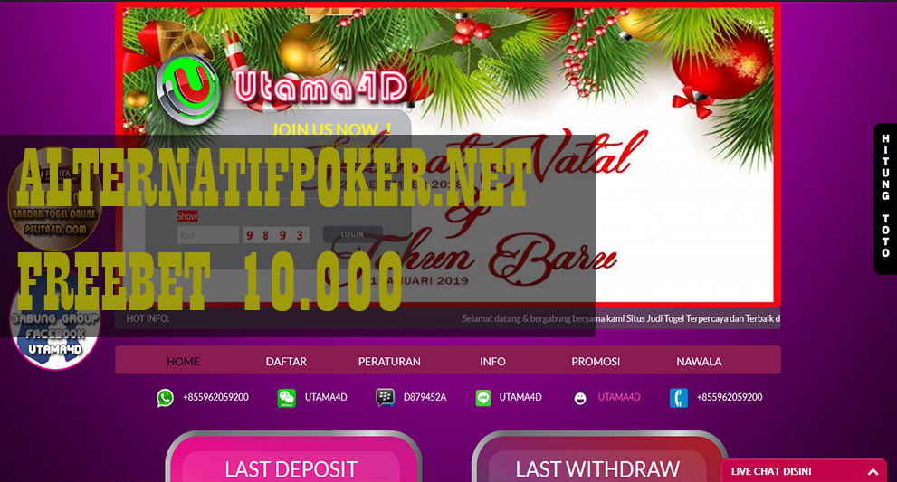 Info Utama4D Freebet Togel Rp 10.000 Tanpa Deposit