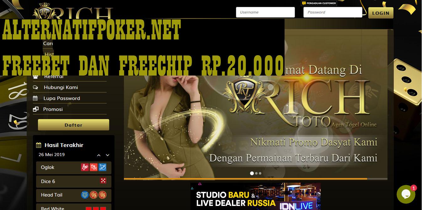 Info Richtoto Freebet Gratis Rp 20.000 Tanpa Deposit