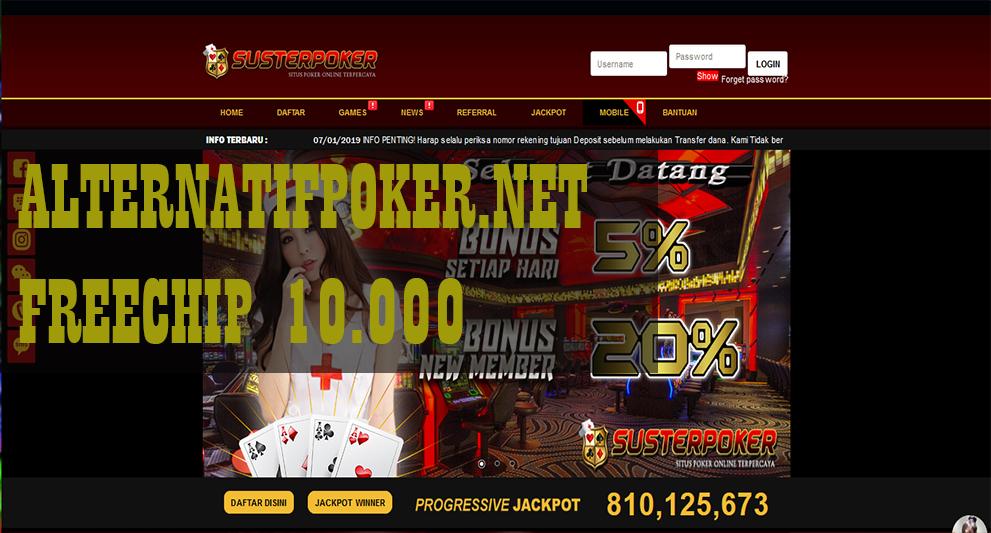 Info SusterPoker Freechips Gratis Rp 10.000 Tanpa Deposit