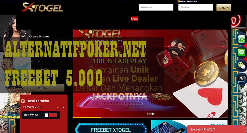 Info Freebet XTogel Senilai 5.000